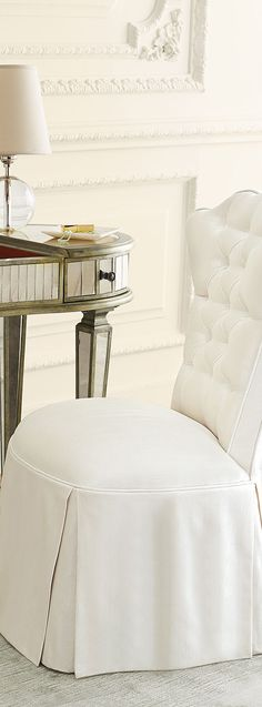 Modern Glam Decor: Find all the essentials for a polished pad where luxe classics meet fashion edge. Learn how to decorate in the modern glam style. Closet Vanity, Vanity Room, Vanity Chairs, Elegant Home Decor, Elegant Homes, Mirrored Furniture, Marble Furniture, Beautiful Home Gardens, Home Accents
