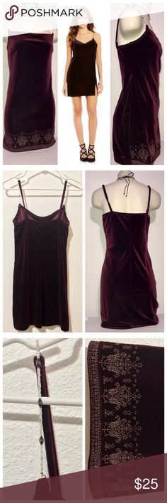 Velvet Beaded Bodycon Slip Mini Dress Size Small. Beaded straps and bead detailing at the bottom. Excellent new condition with no flaws. Dresses Mini