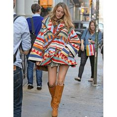 Blake Lively in Lindsay Thornburg x Pendleton blanket cloak