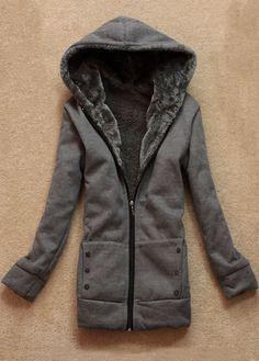 Fabulous Long Sleeve Zipper Closure Hooded Coat for Woman