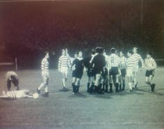 Celtic 1 Racing Club 0 in Oct 1967 at Hampden Park. Jimmy Johnstone is lying injured as tempers start to fray in the Intercontinental Cup Final, 1st Leg.