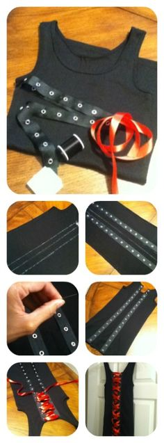 How I made my Corset Back Tank.  I bought a tank. Purchased ribbon that already had grommet holes and red accent ribbon to lace it up.  Decide how