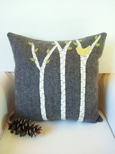 Decorative Pillow / Wool Fabric Applique / Wool by AwayUpNorth, $45.00