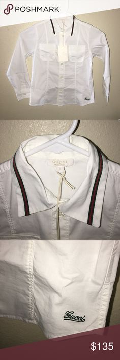 New Auth Gucci boys button down signature shirt 6 New with tags Authentic Gucci boys button down signature shirt sz 6 Gucci Shirts & Tops Button Down Shirts