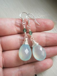 Aqua Blue Chalcedony Silver Earrings LAST PAIR Water by skyejuice
