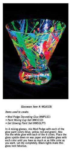 Create an artistic glass with lots of different colors.