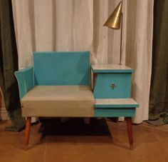 Rare Vintage 1950's Atomic Aquamarine Gossip Phone Chair Bench Table With Lamp