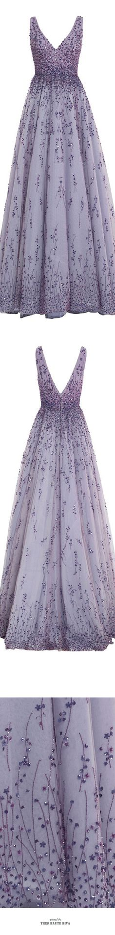 Monique Lhuillier Violet Embroidered Tulle V-Neck Ball Gown ♔ SS 2015