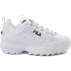 Womens Fila Disruptor II Premium Athletic Shoe (5.675 RUB) ❤ liked on Polyvore featuring shoes, athletic shoes, laced shoes, leather upper shoes, flexible shoes, perforated shoes and sport shoes
