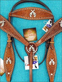 BHPA392CN059-HILASON WESTERN LEATHER HORSE BRIDLE HEADSTALL BREAST COLLAR W/ CROSS GUN CONCHO
