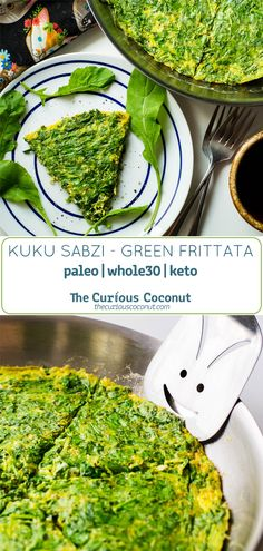 Kuku sabzi is a classic green frittata traditionally eaten to welcome the arrival of spring in Iran. It is packed with fresh herbs and optional leafy cruciferous veggies like arugula, chard, or kale. This is a great make-ahead dish and a delicious way to eat more greens! #Paleo #keto #whole30 // TheCuriousCoconut.com