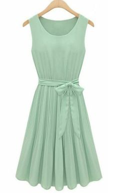 Mint Green Sleeveless Pleated Belt Chiffon Dress (with a cream lace jacket over)