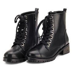 Women Black Leather Lace Up Flat Punk Dress Doc Martens Boots SKU-143372