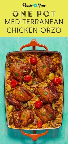 This hearty One Pot Mediterranean Chicken Orzo is a great slimming friendly meal whether youre counting calories or foll Healthy Chicken Recipes, Healthy Dinner Recipes, Diet Recipes, Cooking Recipes, Recipies, Mediterranean Chicken, Mediterranean Recipes, Midweek Meals, Easy Meals