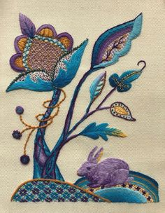 Crewel Embroidery Kits, Hand Embroidery Designs, Beaded Embroidery, Embroidery Patterns, Machine Embroidery, Needlepoint Designs, Flower Applique, Couture, Needlework