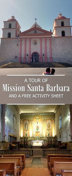 Mission Santa Barbara photo tour and a free printable activity sheet perfect for grade California Mission projects and homeschool projects. California Missions, California Vacation, California History, Northern California, Travel With Kids, Family Travel, Mission Projects, School Projects, Art Projects