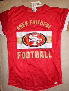 2015 San Francisco 49ers Victoria's Secret Pink Bling Red Sequin Jersey T Shirt  from $79.99