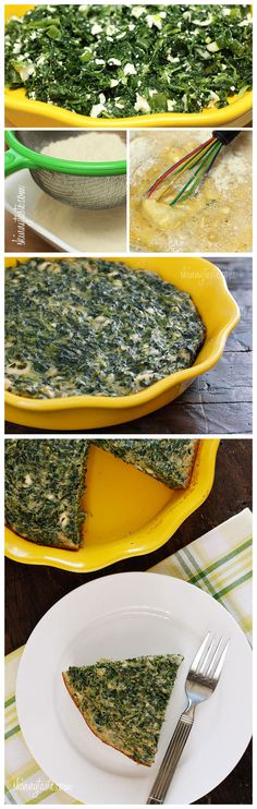 Crust-less Spinach and Feta Pie