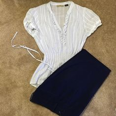 Guess Top White w navy stripes. Gold accents and five buttons. Comes w tie for the waist. Excellent condition. Guess Tops Blouses