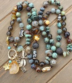Earthy Turquoise Hand Knot Beaded Necklace with Charm Pendants Necklace Charm, Beaded Necklace, Turquoise Beads, Labradorite, Earthy, Natural Stones, Bones, Knot, Pendants