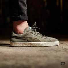 Puma Suede Modern Heritage  Dark Olive Green Puma Shoes 3eee9a872