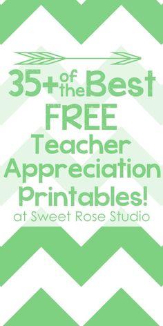Best Free Teacher Appreciation Printables