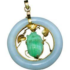 "Large Carved Jade & 14k Gold Vintage Pendant Signed 585.  A fabulous vintage carved Jade & 14k Gold Asian Motif pendant to see me at the ""Vintage Jewelry Stars"" shop at http://www.rubylane.com/shop/vintagejewelrystars!!"
