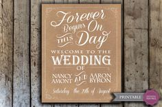 Custom wedding signage  Printable Wedding by HopSketchDesigns