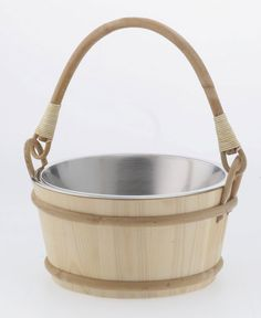 Bucket: 1.3 gallon, wood w/stainless steel liner