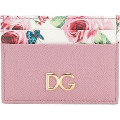 Dolce & Gabbana Leather Credit Card Holder (1 775 SEK) ❤ liked on Polyvore featuring bags, wallets, pink, pink leather bag, leather card case wallet, credit card holder wallet, card slot wallet and pink leather wallet
