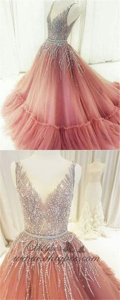 Fashion Tips Quotes Unique V Neck Tulle Beaded Long Prom Dress Pink Evening Dress Pink Formal Dress.Fashion Tips Quotes Unique V Neck Tulle Beaded Long Prom Dress Pink Evening Dress Pink Formal Dress Pink Formal Dresses, Sparkly Prom Dresses, Princess Prom Dresses, Junior Prom Dresses, Elegant Prom Dresses, Beautiful Prom Dresses, Long Dresses, Dresses Dresses, Beaded Dresses