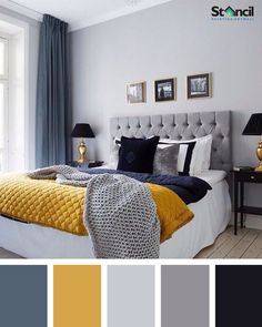 blue bedroom ideas, blue bedroom decorating ideas, blue bedroom ideas for adults, light blue bedroom ideas, blue living room decorating ideas decor ideas color schemes Best Bedroom Colors, Bedroom Color Schemes, Interior Design Color Schemes, Room Color Ideas Bedroom, Colors For Bedrooms, Apartment Color Schemes, Colour Schemes For Living Room, Bedroom Color Palettes, Grey Color Schemes