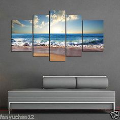 Home-Decor-HD-Print-Landscape-art-painting-on-canvas-No-stretch-Blue-Wave-Beach