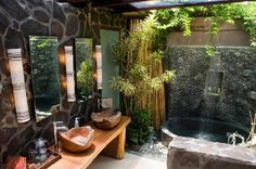Gaia Retreat Center: Garden Bathroom  yes! this is it! i love the pebbled shower.  i want a bathroom that feels like a waterfall and this is really close to what i am imagining.