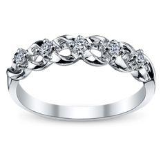 Cherish 14K White Gold Diamond Anniversary Ring 1/8 Carat Total Weight