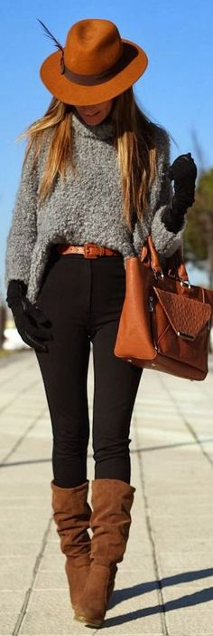 Winter style. Brown boots. Black pants. Grey comfy sweater. Brown accessories.
