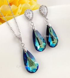 Peacock Blue Jewelry Set Cubic Zirconia Swarovski by LynJewels, $53.00