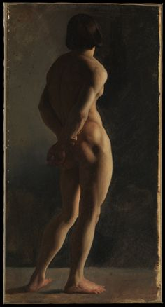 Male Nude, Seen from Behind Artist: Hippolyte Flandrin (French, Lyons 1809–1864 Rome) Artist: or Paul Flandrin (French, Lyons 1811–1902 Paris) Date: ca. 1829–46 Medium: Oil on paper, laid down on canvas Dimensions: 25 3/8 x 13 3/8 in. (64.5 x 34 cm)