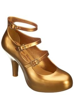 Gold Melissa and Vivienne Westwood Anglomania 3 Strap Elevated Heels $125.