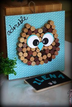 Gooseberries & CO: Anniversary on the theme of Owls . Owl Crafts, Easy Crafts, Diy And Crafts, Paper Crafts, Diy For Kids, Crafts For Kids, Craft Projects, Projects To Try, Cork Art