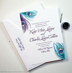 Vintage peacock feather wedding invitations by artist Michelle Mospens. MyPersonalArtist.com