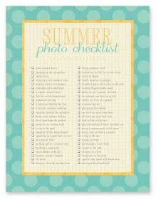 Summer Photo Checklist and other great summer things
