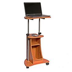 Adjustable Height Laptop Cart w/ Storage Portable Rolling Desk Computer Table #TechniMobili
