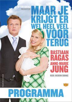 Vormgeving/Design. Bastiaan Ragas en Anne-Marie Jung met hun nieuwe theatervoorstelling-slash-cabaret-komedie  Maar Je Krijgt Er Wel Heel Veel Voor Terug.