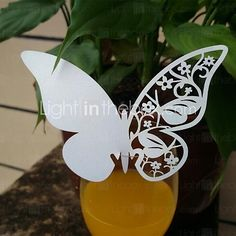 50pcs Laser Cut Butterfly Cup Name Place Escort Card for Wine Glass Wedding Baby Shower Christmas Party Decoration - USD $9.99