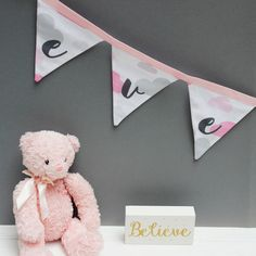 Pink Cloud Bunting - Personalised Bunting for Baby Girl Nursery Decor / Cloud Nursery Decor / Cloud Decor by on Etsy Cloud Nursery Decor, Clouds Nursery, Baby Girl Nursery Decor, Nursery Themes, Themed Nursery, Personalised Bunting, Personalized Baby Gifts, Baby Girl Nursery Pink And Grey, Cloud Decoration