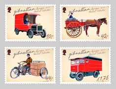 "europa stamps: Gibraltar 2013 - Europa 2013 ""The postman van""  celebrating PostEuropa's 20th anniversary - 1993-2013"