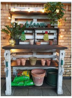 Outdoor Potting Bench, Pallet Garden Benches, Pallet Potting Bench, Potting Tables, Garden Work Benches, Pallet Work Bench, Rustic Potting Benches, Garden Bench Table, Vertical Pallet Garden