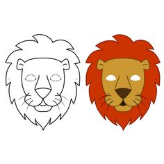 FREE DIY PDF printable print and cut mask lion, Tinga tales, daniel and the lion, lion king, butterfly lion, how loud is a lion, narnia, toms sausage lion,