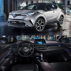 """Toyota C-HR 2017 Revelado interior do novo SUV compacto da Toyota! O carro é montado na nova plataforma TNGA que também servirá para a nova geração do Corolla. O nome C-HR significa Coupé High-Rider ou seja um SUV com cara de cupê bem no estilo do rival Honda HR-V. O C-HR tem 4.360 mm de comprimento e 2.640mm de entre eixos. A cabine do carro tem o conceito 'Sensual Tech' combinando tecnologia com estilo fashion num painel que envolve o motorista. O C-HR tem uma tela touch de 8"""". Um aplique…"""